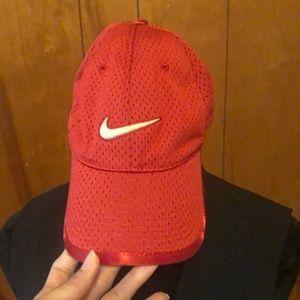 Nike swoosh logo mesh red baseball cap